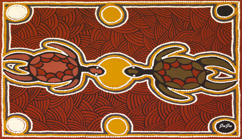 Water Bottles. Two Turtle Dreaming by aboriginal artist Ju Ju Wilson