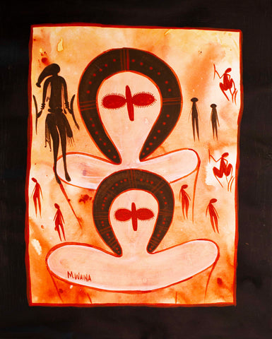 Bradshaw (Guyon Guyon or Giri-Giri) and two Wandjina spirit. Painting by Melissa Wainer