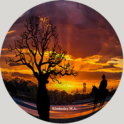 Kimberley Sunset with boab and stockman Ornamental Plates