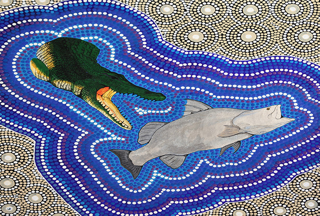 Water Bottles. Crocodile and Barramundi Dreaming by Des Darby