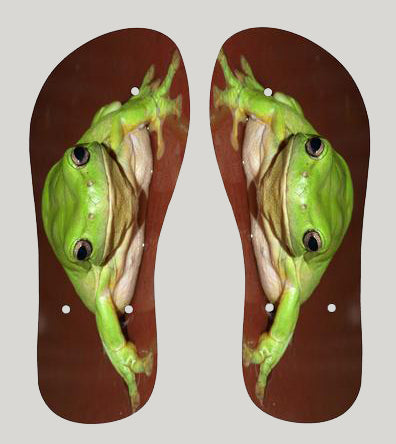 Thongs / Flip Flops Green Tree Frog 1