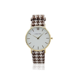 Light Brown Fancy Knitted Pattern Casual Watch
