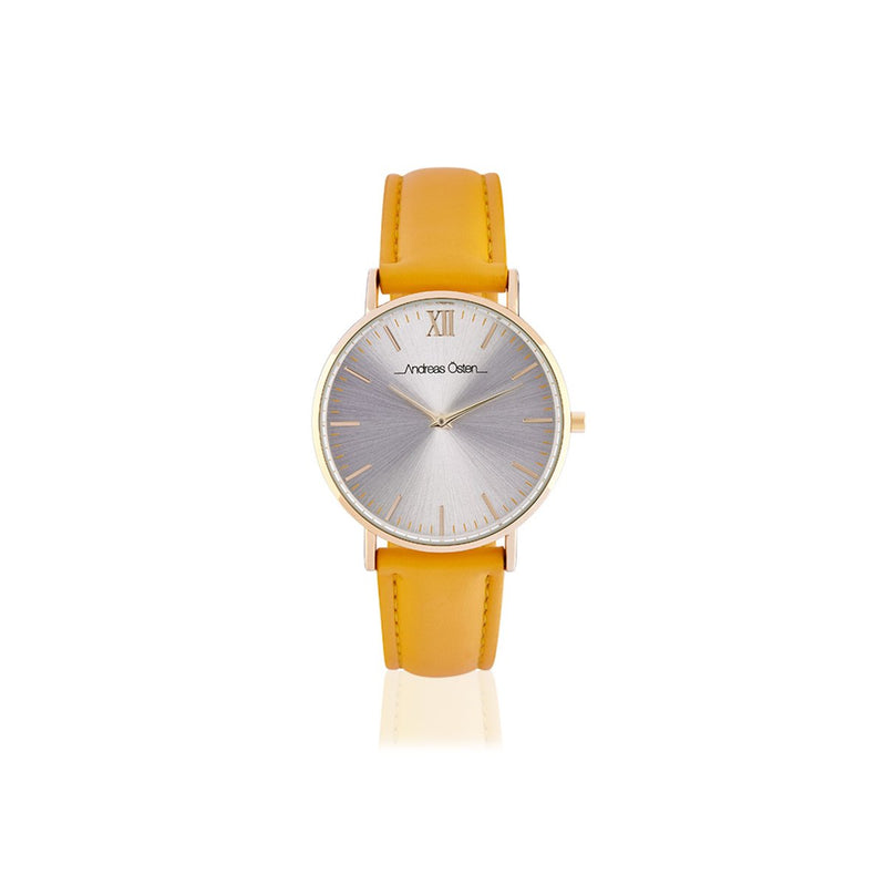 Yellow Analog PU band Casual Watch