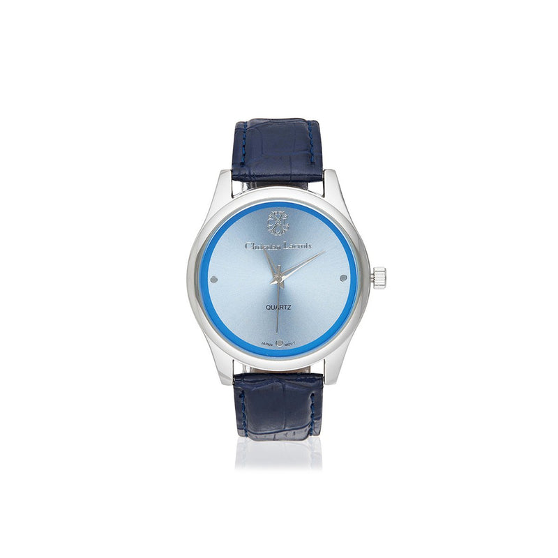 Blue Analog PU Band Casual Watch