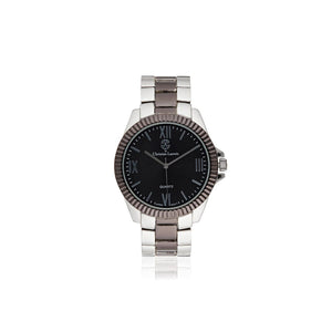 Silver-Black Analog Stainless Steel Casual Watch