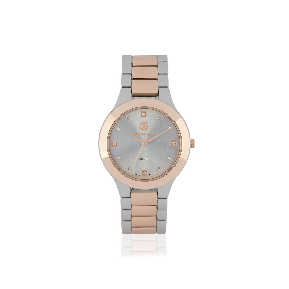 Silver-Rose Gold Analog Stainless Steel Casual Watch