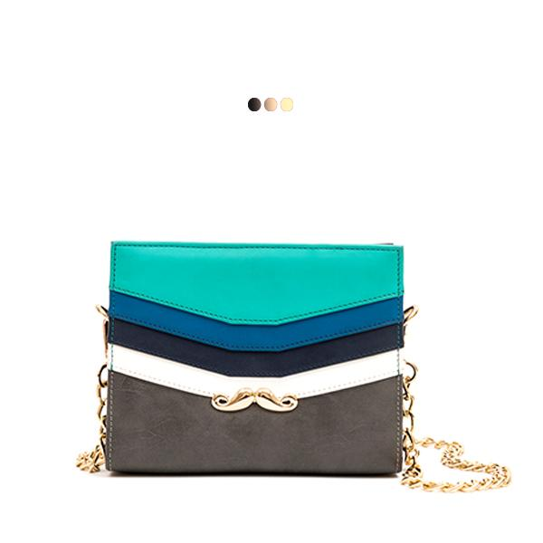 Small Aqua-Toned Interchangeable Bag With Metallic Moustache (Base+Skin)