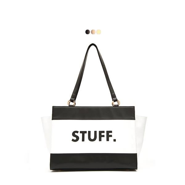 Large Interchangeable Bag With Slogan Patchwork - Stuff (Base+Skin)