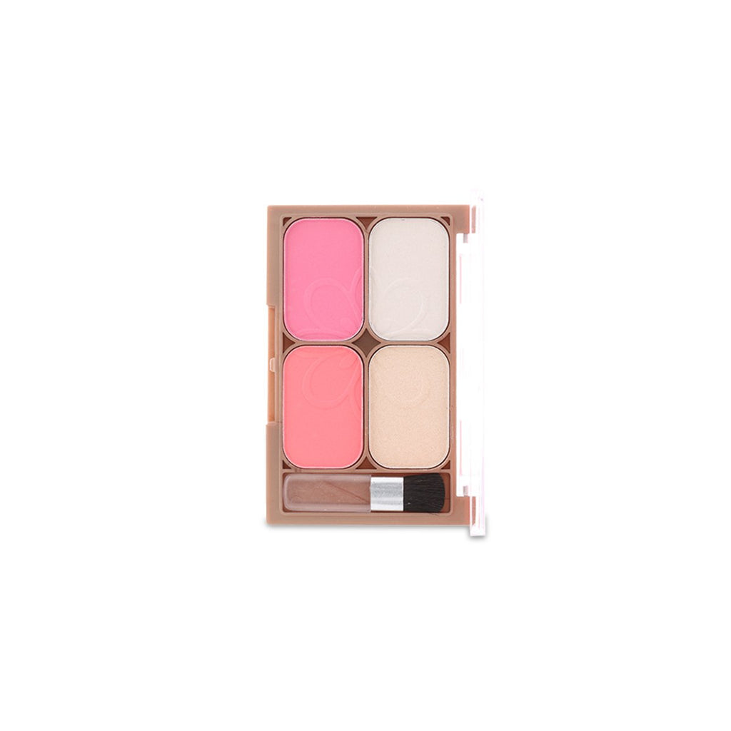 4 Colors Highlighter & Blusher with Application Brush - 1315