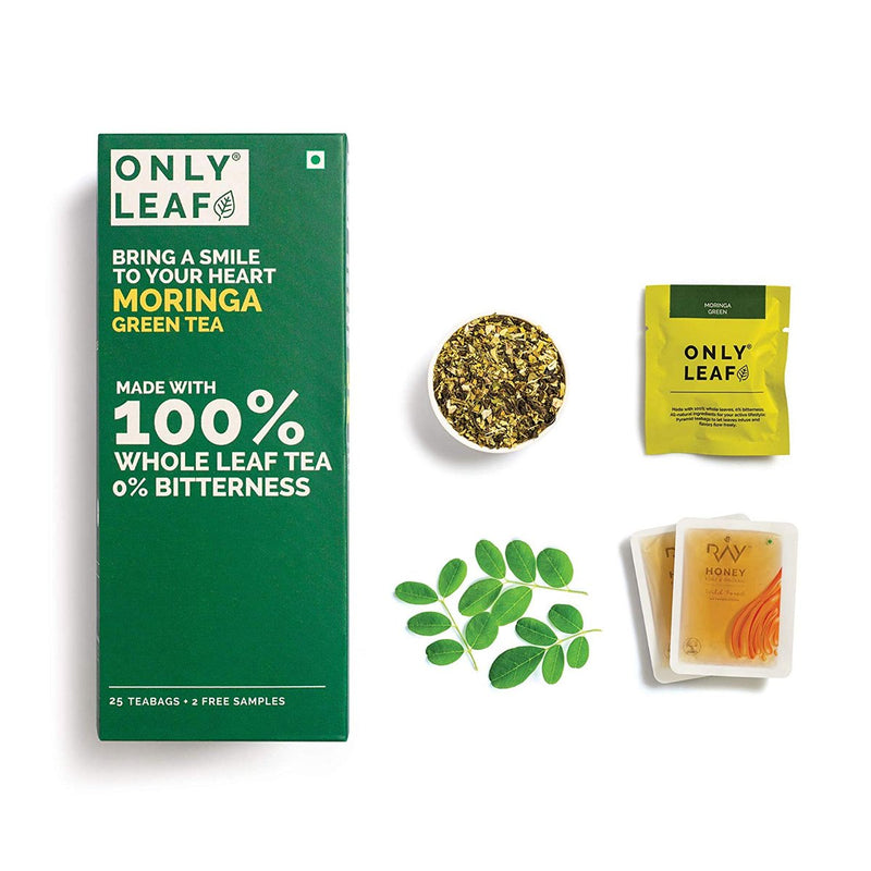Moringa Green Tea | 25 Tea Bags +2 Free Organic Honey Sachets)