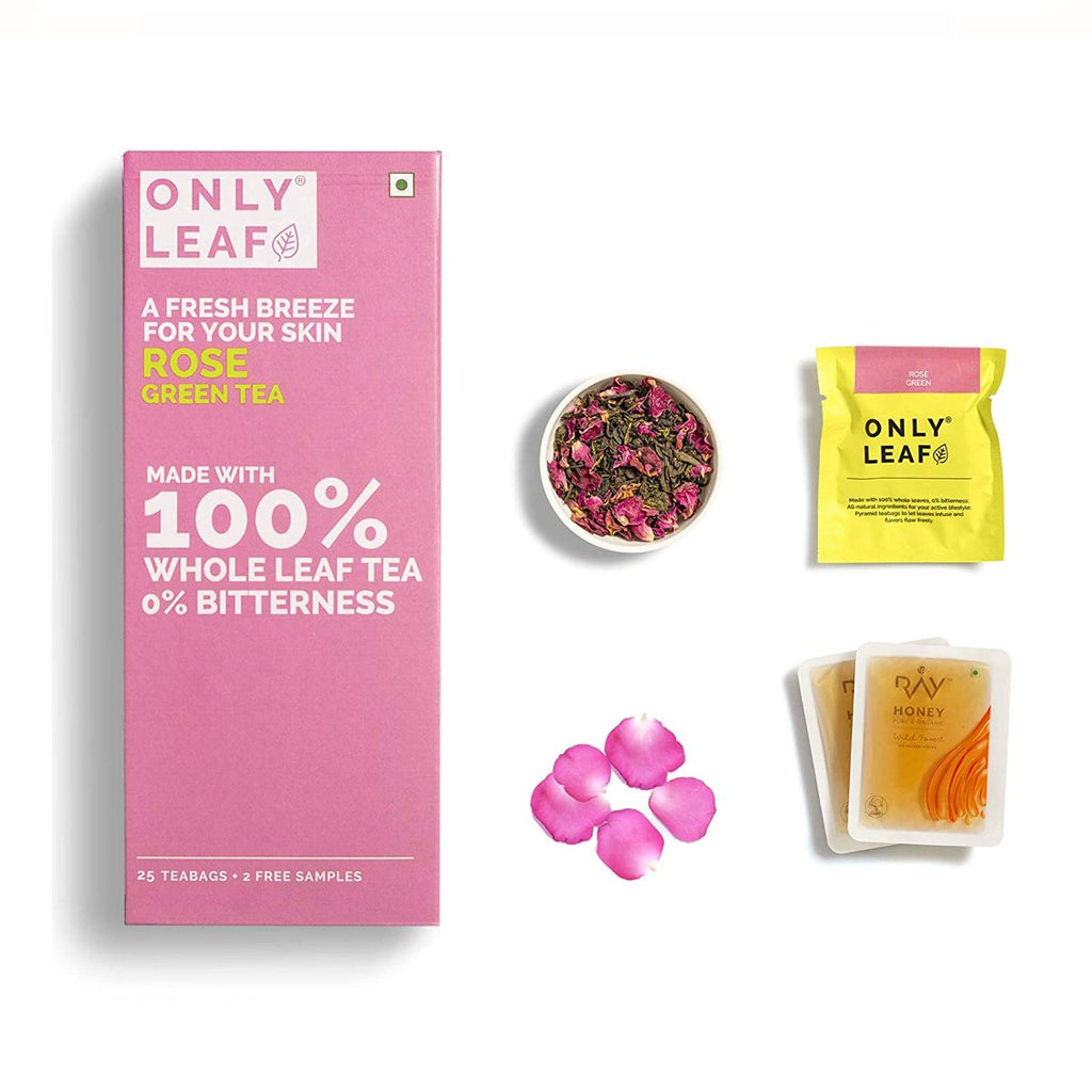 Rose Green Tea | 25 Tea Bags +2 Free Organic Honey Sachets