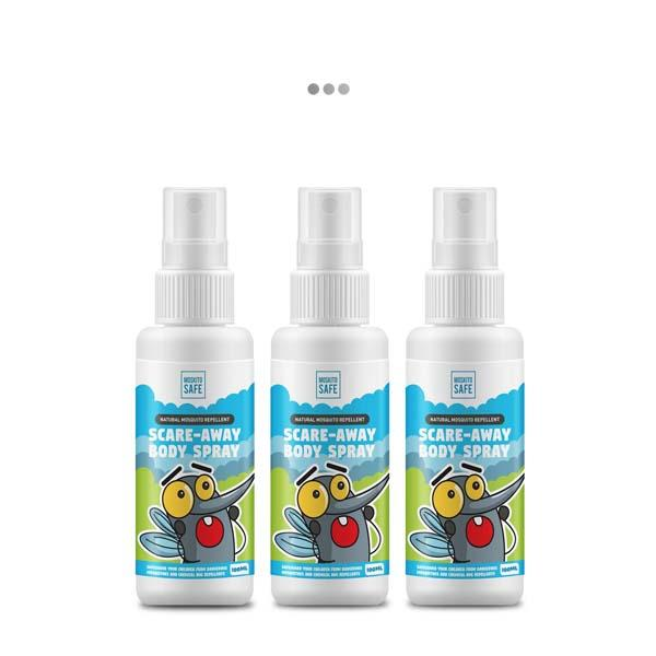 Moskito Safe Scare Away Natural Alcohol & DEET Free Mosquito Repellent Spray (Pack of 3)