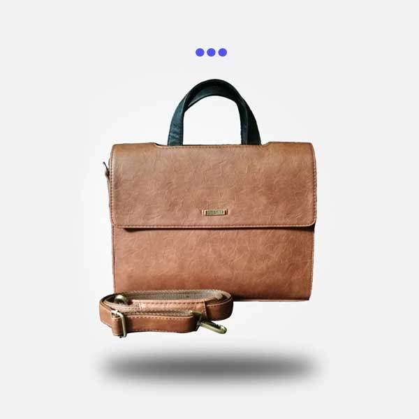 Brown Twin Flap Laptop Bag