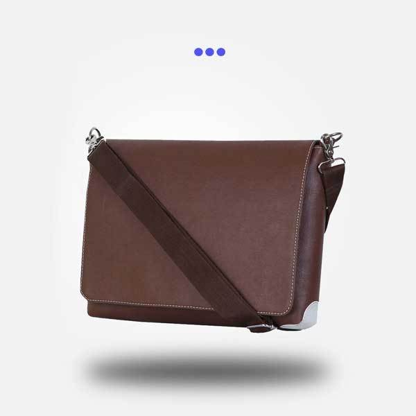Brown and White Laptop Bag