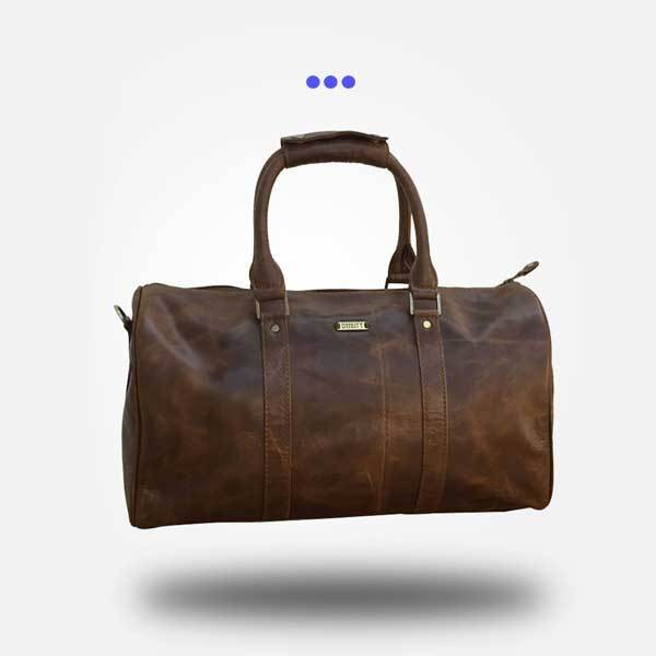 Crushed Brown Leather Duffel Bag