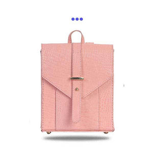 Pink Leather Backpack with Lock