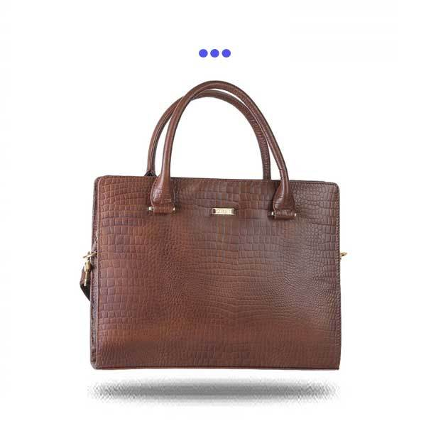 Brown croc Print Leather Laptop Bag