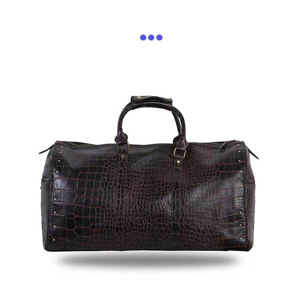 Dark Maroon Leather Croc Print Duffel Bag