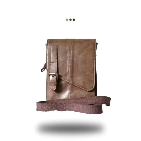 Brown Buckled Messenger Sling Bag