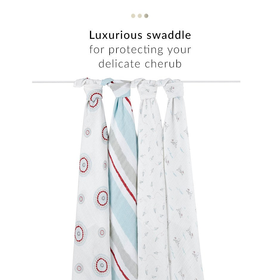 Baby Care - Set Of 4 Blue Swaddles