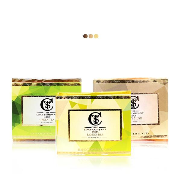 Bath And Shower - Handcrafted Green Tea, Musk Shea Butter, Lemon Bee Soap Combo