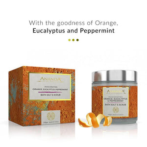 Invigorating Body Scrub & Bath Salt - Orange, Eucalyptus, Peppermint | Ananda In The Himalayas | Shop on Smytten