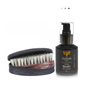 Essentials For Gentlemen - Beard Brush And Beard & Hair Growth Serum