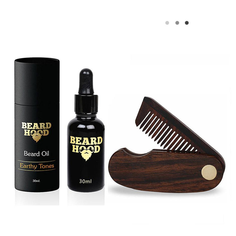 Essentials For Gentlemen - Earthy Tones Beard Oil+Folding Beard Comb