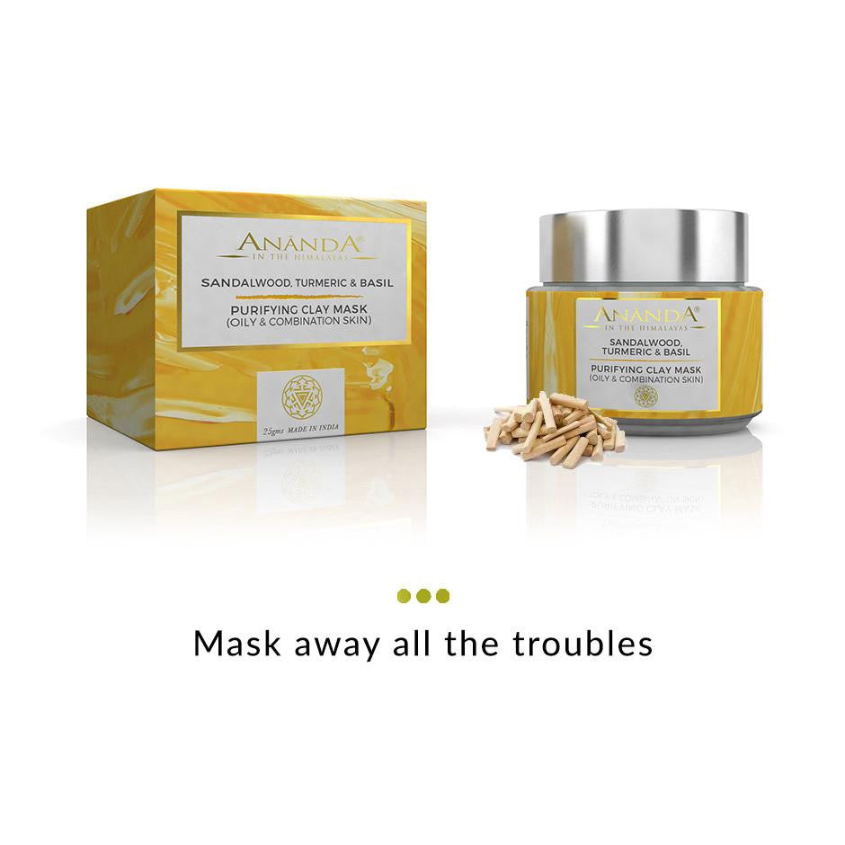 Face Mask - Purifying Clay Face Mask- Sandalwood, Turmeric And Basil For Oily And Combination Skin