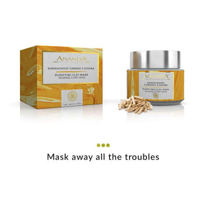 Purifying Clay Face Mask - Sandalwood, Turmeric & Jojoba for Normal and Dry Skin | Ananda | Shop on Smytten