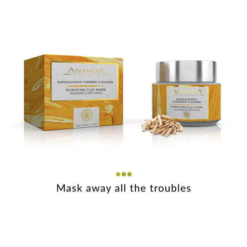 Face Mask - Purifying Clay Face Mask - Sandalwood, Turmeric & Jojoba For Normal And Dry Skin
