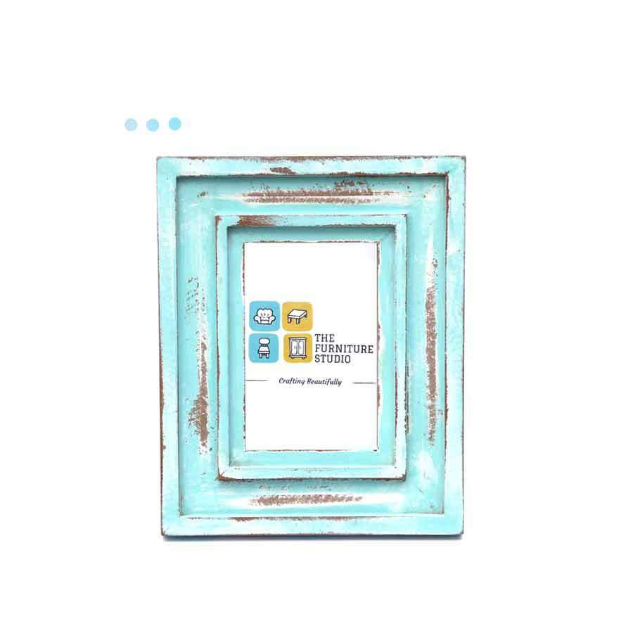 Home Fragrances And Decor - Wooden Line Deisnged Turquoise Washing Distress Photo Frame