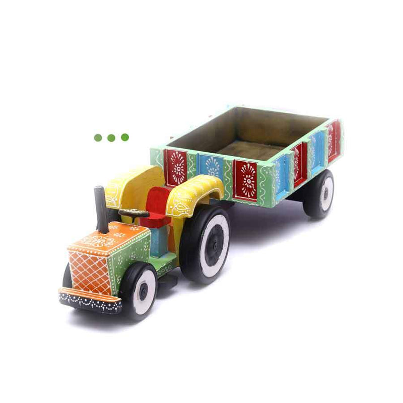 Home Fragrances And Decor - Wooden Tractor Hand Painted