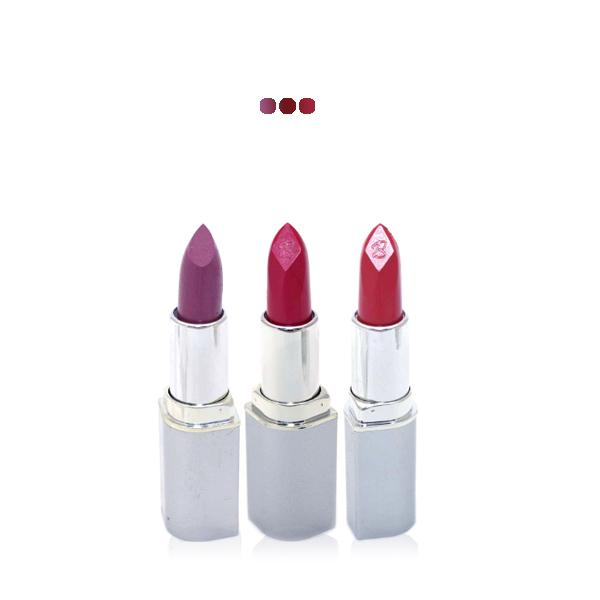 MakeUp - Dark Lavender/ Rhubarb Red Shine/ Reddish Brown Paris Premium Lipstick Value Offer