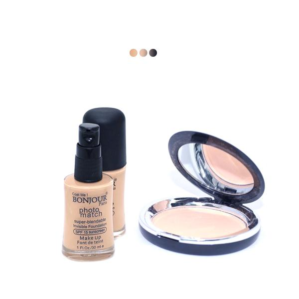 MakeUp - Wheatish To Dusky Skin Paris Liquid Foundation With Paris Gentle Compact Powder
