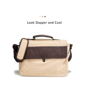 Messenger Bag - Beige Canvas Messenger Bag