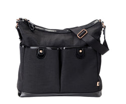 Black Ballistic Nylon Patent 2-Pkt Hobo with Gun Metal Hardware
