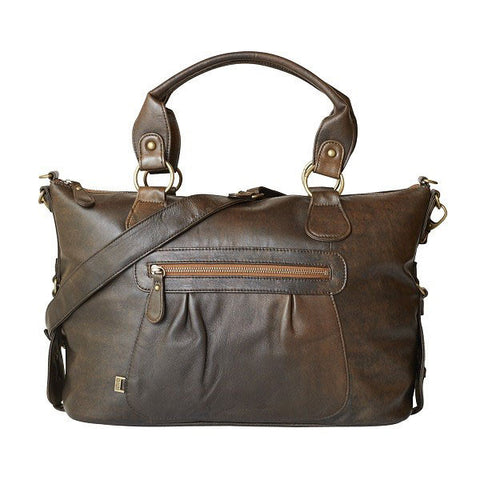 Chocolate leather slouch tote OIOI