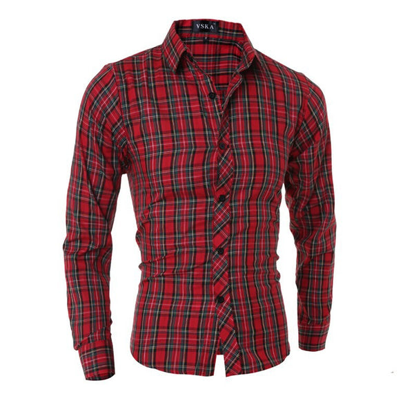 Red Plaid Long-Sleeved Shirt