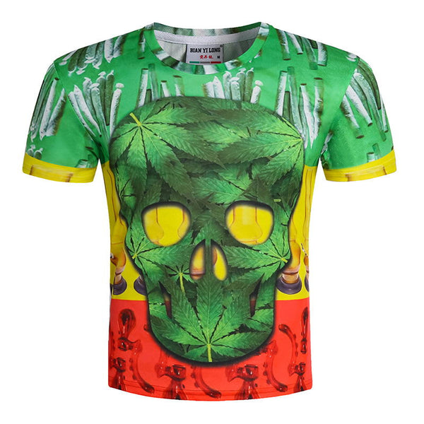 Psychedelic Scull Printed  T-Shirt