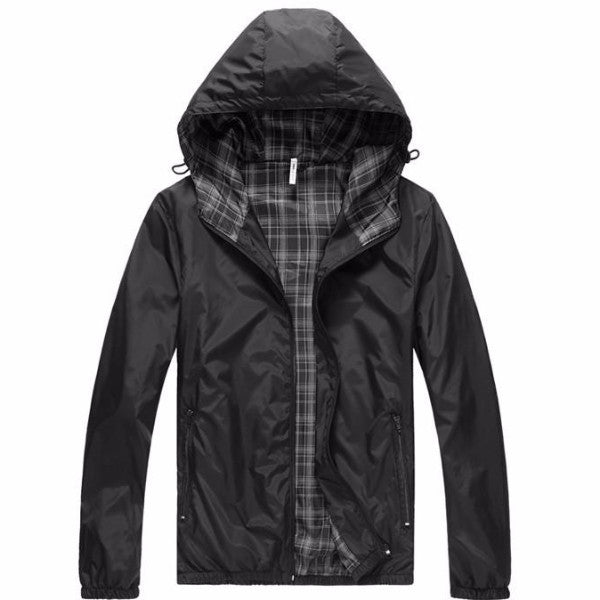 Hooded  Thin Windproof Jacket black