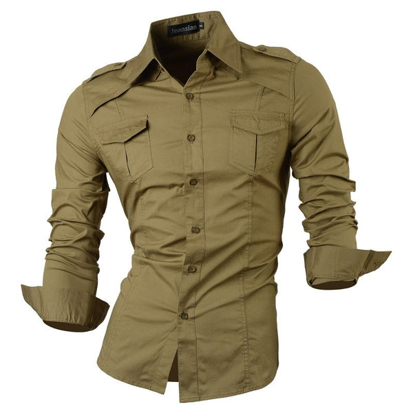 Long Sleeved Shirt with Pockets khaki