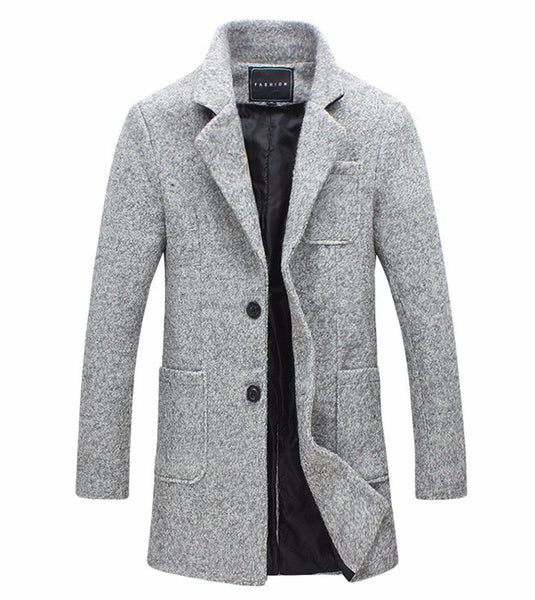 Light Grey Fashionable Mild Long Warm Overcoat with Pockets