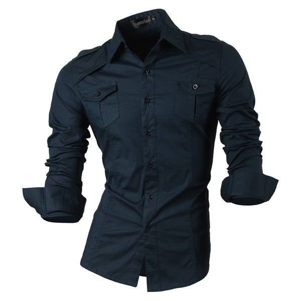 Long Sleeved Shirt with Pockets navy