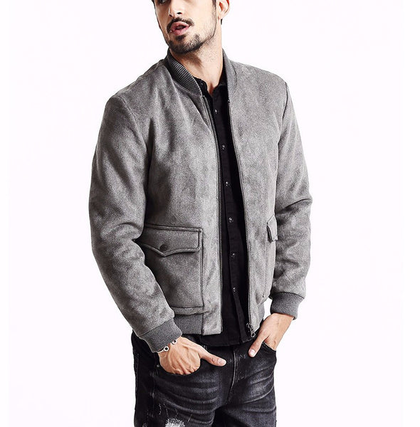 Grey Stand Collar  Windbreaker Bomber