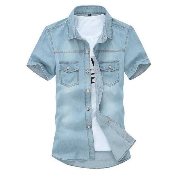 Men's Denim Short Sleeved Shirt with Wooden Buttons