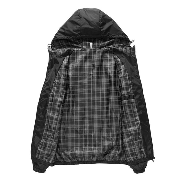 Hooded  Thin Windproof Jacket PLAID LINING