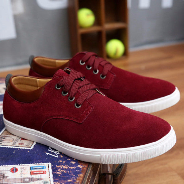 Suede Walking Shoes wine red