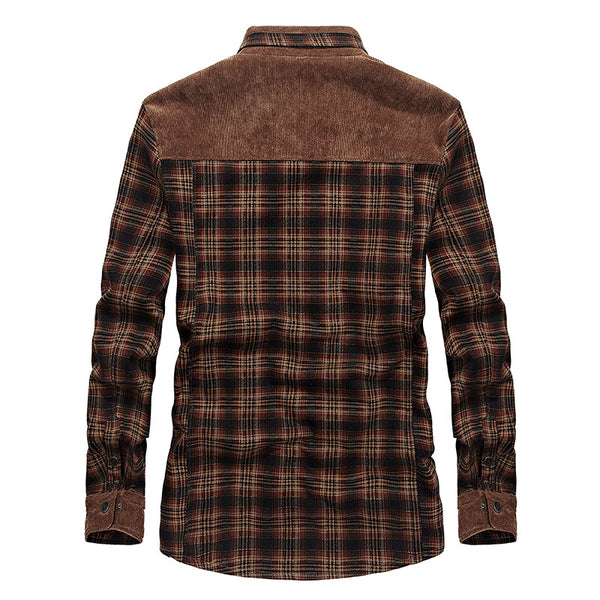 Velvet Plaid Button-Down  Fleece Shirt 2 colors