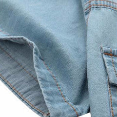 Men's Denim Short Sleeved Shirt with Wooden Buttons 2 colors